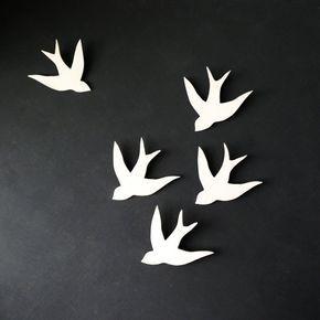Wandkunst Schwalben im Flug weiße Porzellan Vogel Wandskulptur moderne Keramik …   – Leather key fobs