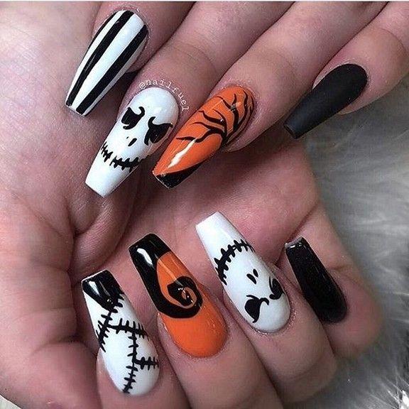 Cute Halloween Nails Arts Nails In 2020 Halloween Acrylic Nails Halloween Nails Easy Halloween Nail Designs