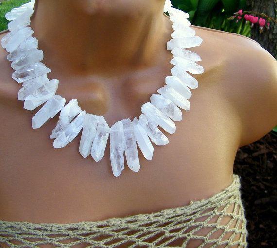 Raw White Crystal Shard Statement Necklace. Frosted Icy Crystal Bib Necklace. Raw Stone Necklace.