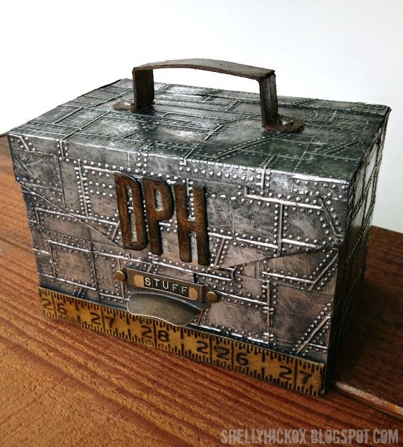 Stamptramp: Paper Tool Box + a Winner! Grungy 'metal' tool box made with cardstock and @Ryan Sullivan Sullivan Sullivan Gregson Ink Metal Foil sheets. The pattern is from the Technique Junkie Great Gifts CD. The foil was embossed using Tim Holtz' Riveted Metal Texture Fade from Sizzix.