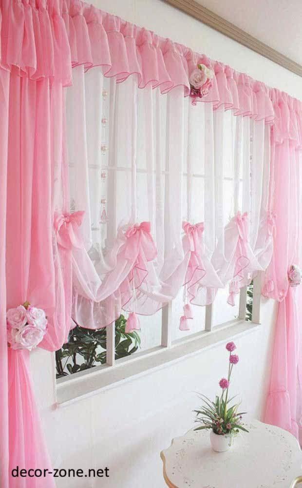 kitchen curtains designs, pink kitchen window curtains