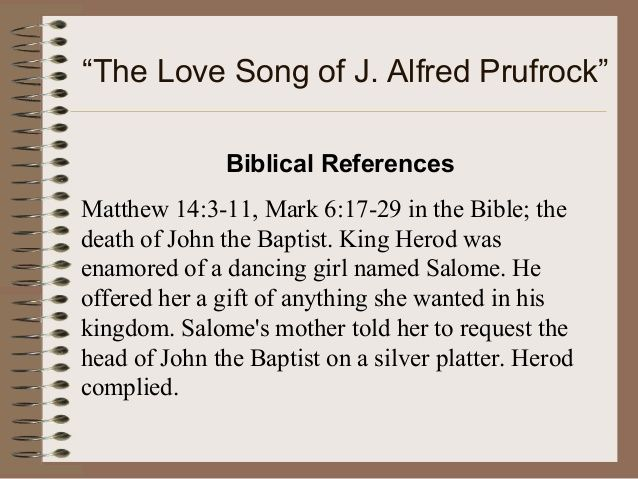 an overview of the poem the love song of j alfred prufrock by t s eliot The love song of j alfred prufrock study guide contains a biography of ts eliot, literature essays, a complete e-text, quiz questions, major themes, characters, and a full summary and analysis.