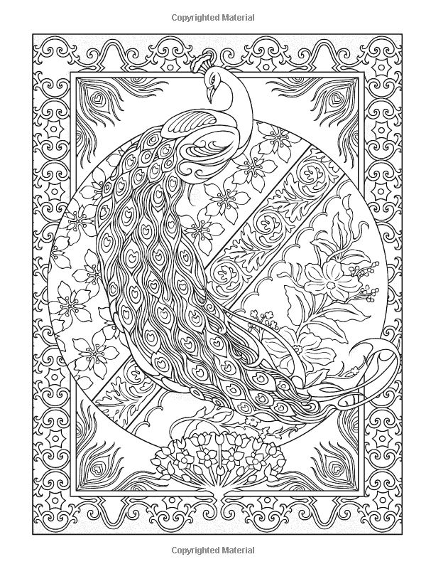 Creative Haven Peacock Designs Coloring Book.