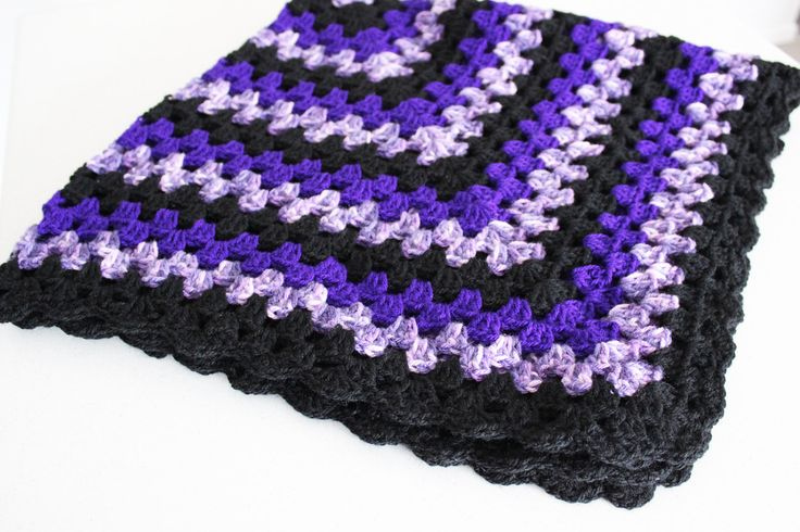 Purple Black, Granny Square Crochet, Knee Rug, Throw Rug,Handmade,Square, Sofa,Retro,Vintage Style,Home Decor,Blanket by KimMageeARTandCraft on Etsy