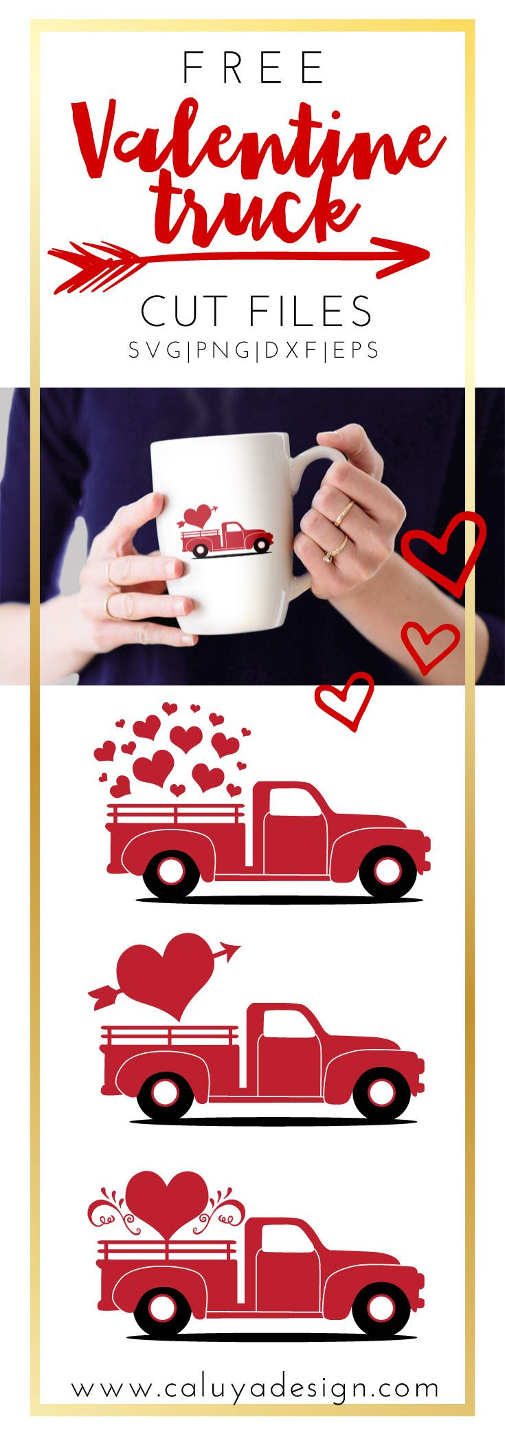 FREE Valentine Vintage Truck SVG file. Free Valentine old truck SVG, PNG, EPS, DXF compatible with Cricut, Cameo Silhouette. Free Valentine SVG file. Free Valentine cut file
