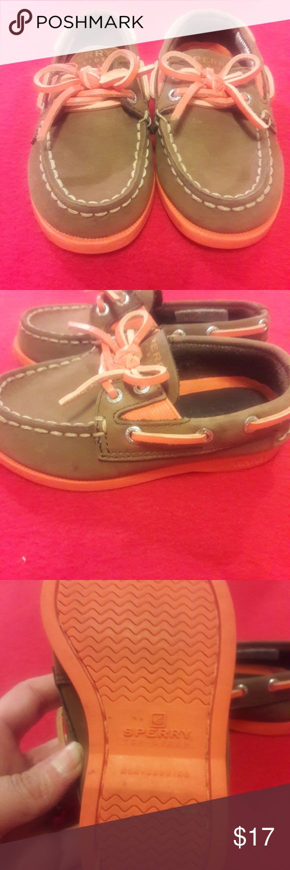 Child's Sperry top siders Size 7 brown and orange Sperry top siders. Has orange ties. Sperry Top-Sider Shoes