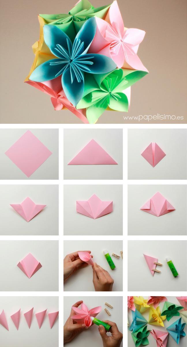 cmo hacer colgante flores de papel aprender es