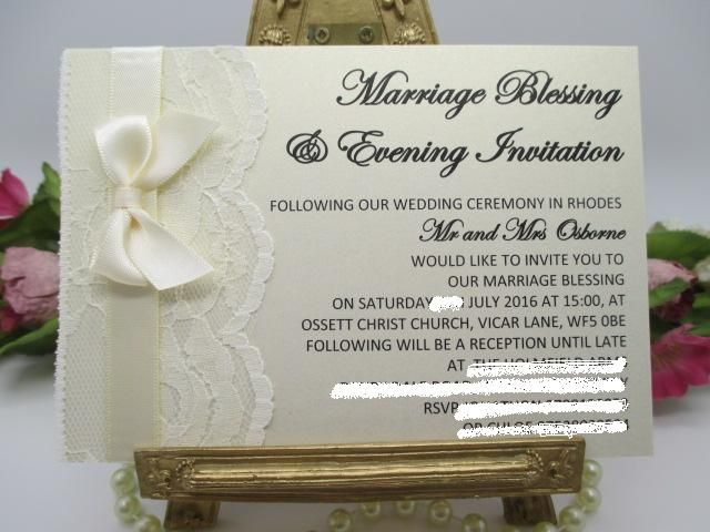 V0018 A6 Flat Card Ivory Lace Satin Wedding Evening Invitation Available from www.vintagelaceweddingcards.co.uk