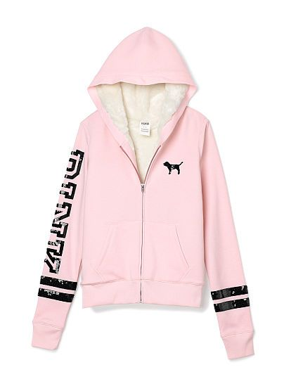 PINK Faux Fur Zip Hoodie-Light Pink