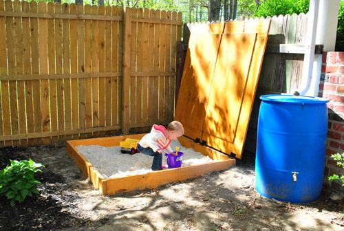 """using pea gravel instead of sand in a sandbox - safer (as long as your kiddo is past the """"putting things in his/her mouth"""" stage) and cleaner"""