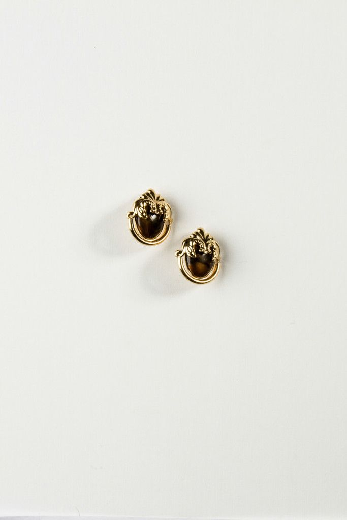 Chocolate Marble & Gold Filigree Earrings