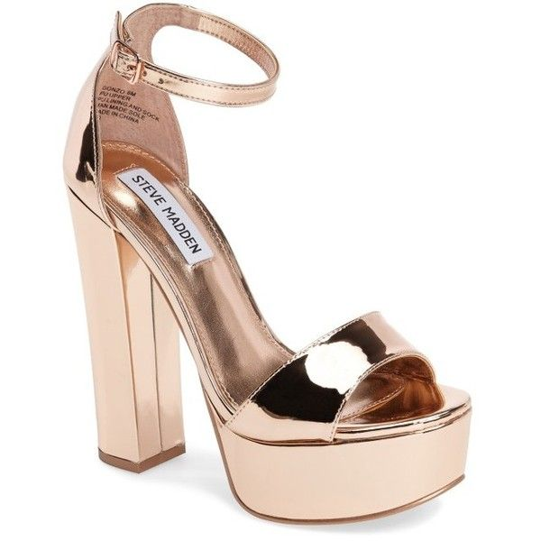 Women's Steve Madden Gonzo Platform Sandal ($90) ❤ liked on Polyvore featuring shoes, sandals, rose gold, high heeled footwear, steve madden sandals, high heel platform sandals, high heel shoes and rose gold sandals