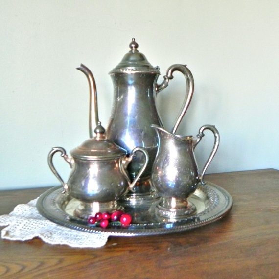 Bellas Rose Cottage Via Jennifer Beaton: Vintage Silverplate Tea Service With Tray Camille By