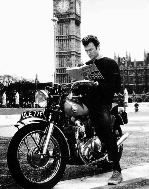Clint Eastwood touring London on his motorcycle during the making of Where Eagles Dare, 1968. What a boss