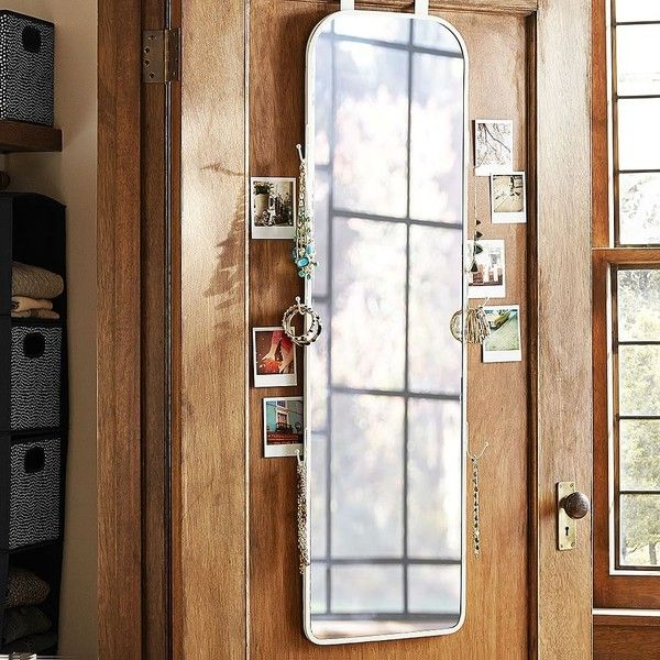 PB Teen Over The Door Full Mirror, White Metal ($179) ❤ liked on Polyvore featuring home, home decor, mirrors, metal mirror, full length mirror, white full length mirror, jewelry mirror and over the door full length mirror