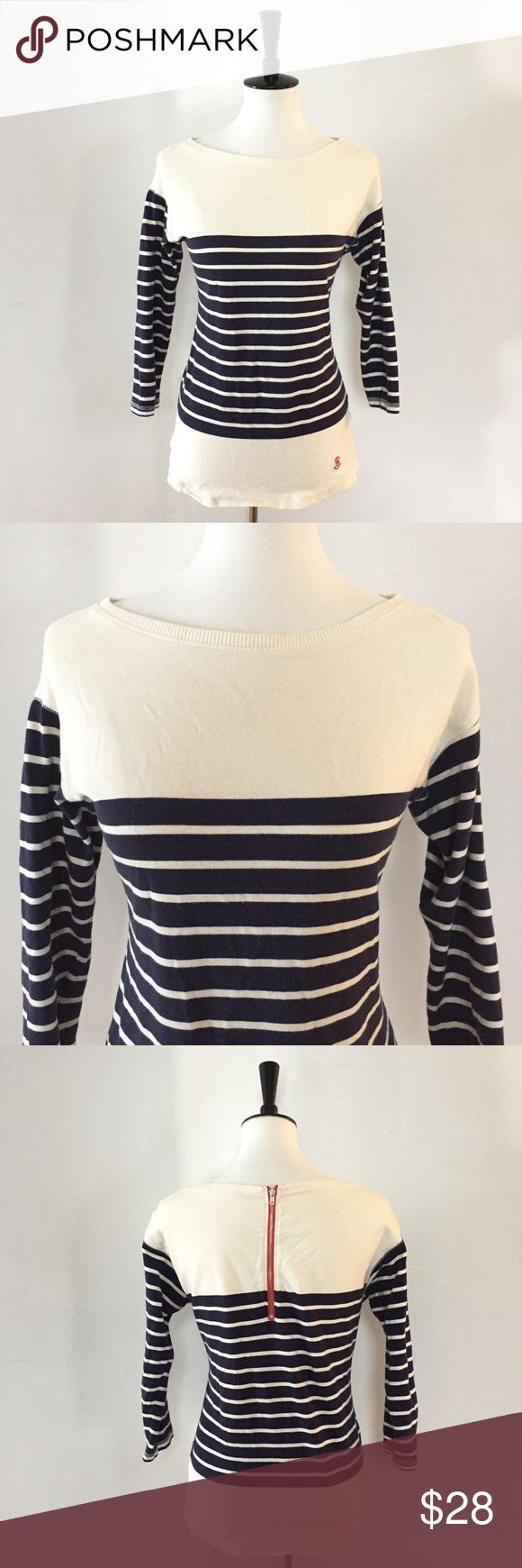 "[Tommy Hilfiger] nautical blue & white striped top -Size: no size tag, but it's a medium. Measurements below -Condition: great -Color: blue & white/off-white stripes and a red zipper on the back -Closure: zips down the back -Style: striped nautical blouse -Extra Notes: -B2 *Measurements: -Bust: 18.5"" flat -Length: 25.25"" -Waist: 17.25"" flat -Sleeve: 15.5"" from shoulder Bundling is fun, check out my other items! My home is smoke free. No trades, holds, modeling, or negotiations in the…"