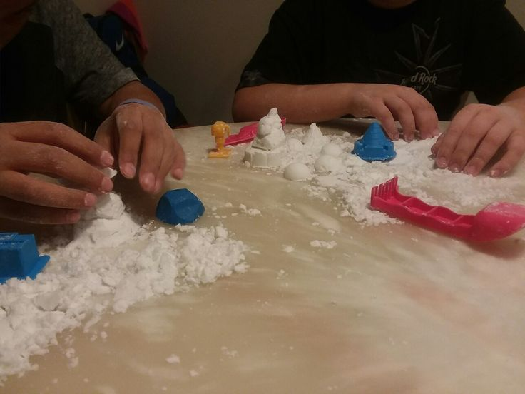 We started out with kinetic rock and sand kits and quickly ended up here. FAKESNOW!!! It's super easy to make and has captured the attention of these middle school boys. It really is as easy as 3 cups of baking soda and 1/2 cup of hair conditioner. Have fun! ❄☃ #winterbreak #snowday #diysnow #fakesnow #christmasvacation