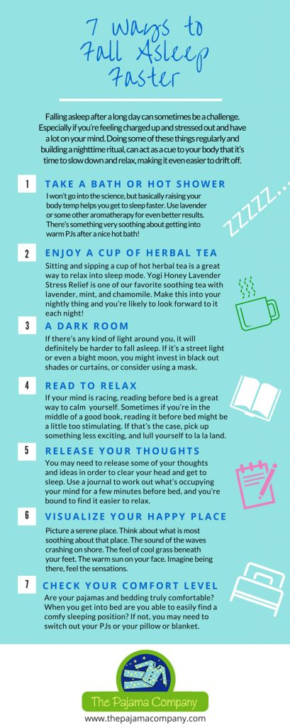 7 Ways to Fall Asleep Faster - Getting to sleep after a long day can sometimes be a challenge. Here are seven things to add to your night time ritual for better sleep. #sleepwell