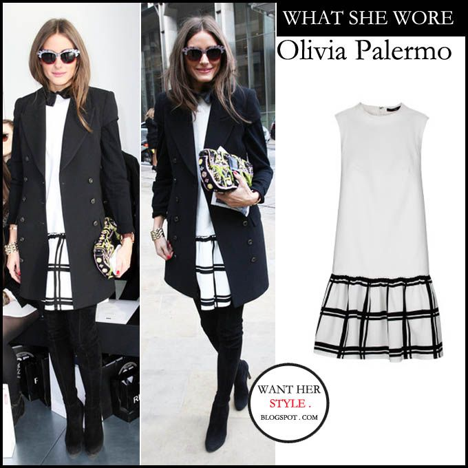 Olivia Palermo in black coat and  white drop waist dress with contrast checker print skirt from Tibi.