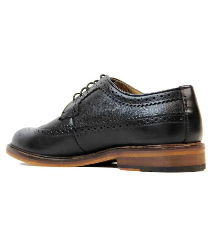 Brand: Ben Sherman Key Points: Ben Sherman 'Deon Longwing' waxy leather brogues with button print i