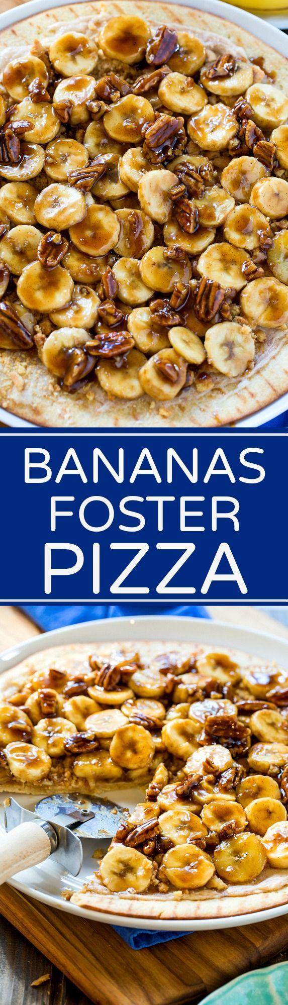 Bananas Foster Dessert Pizza makes a great Mardi Gras dessert.