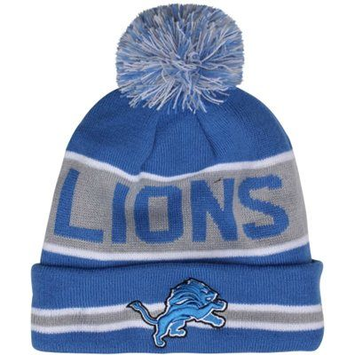 New Era Detroit Lions The Coach Cuffed Knit Beanie with Pom - Light Blue/Silver