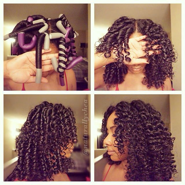 Two different types of curl patterns achieved using a flexi rod- a curl or a wave. Michelle used the Curl Control Styling Lotion to set her hair.  Purchase at WonderCurl.com