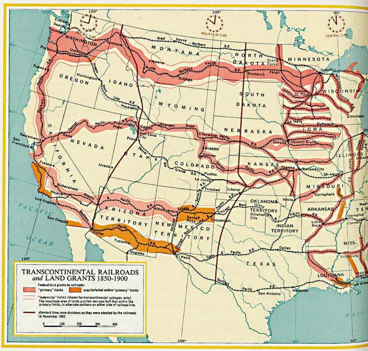 transcontinental railroads and land grants circa 18501900