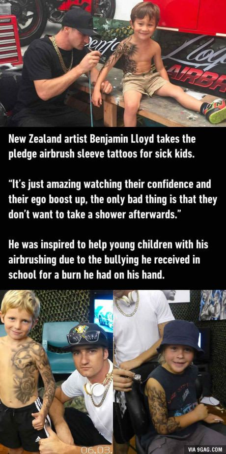 New Zealand artist Benjamin Lloyd gives sick kids airbrushed tattoos to boost their confidence