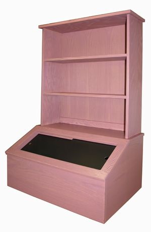 Wooden Toy Box With Bookshelf Oak