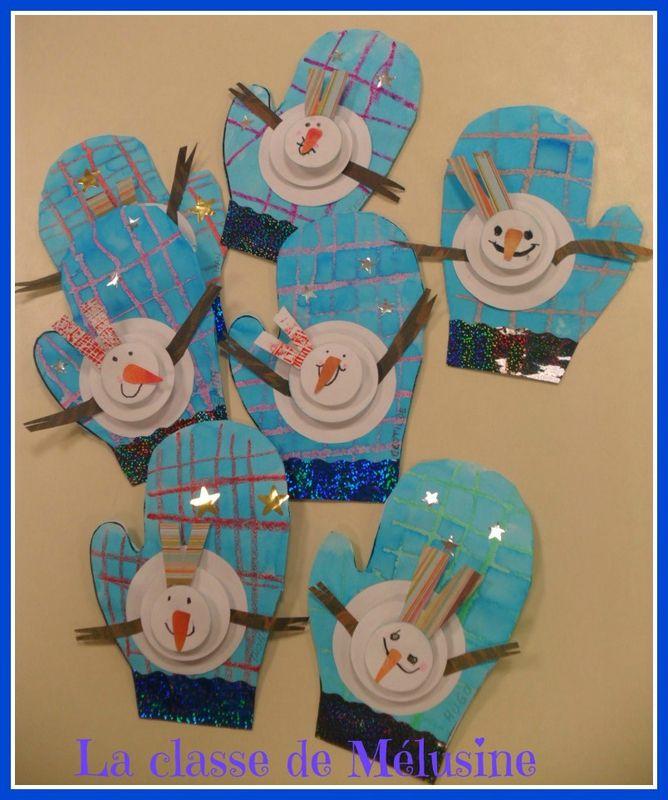 Handschoen met sneeuwpop