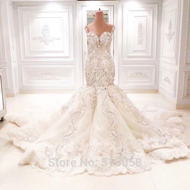Fully Crystal Beaded Sweetheart Open Back Mermaid Wedding Dresses Bling Bridal Gowns 2015 Vestidos De