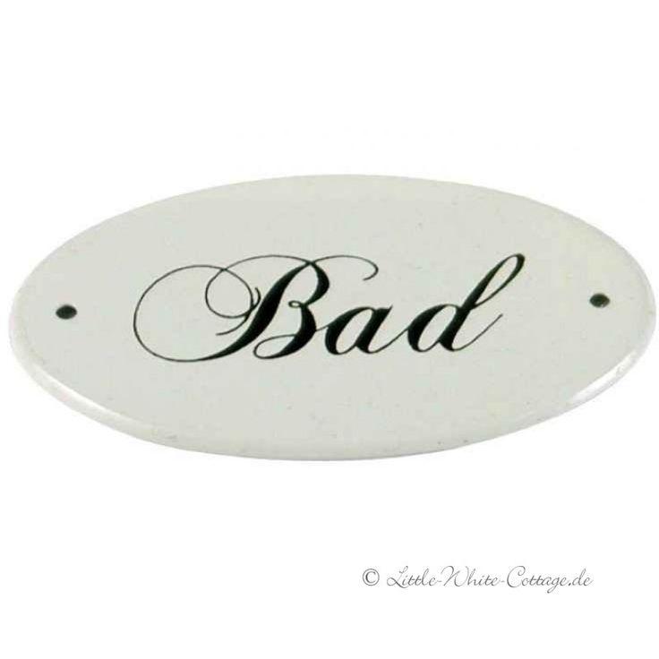 IB Laursen Emaille Schild BAD oval creme 9 cm