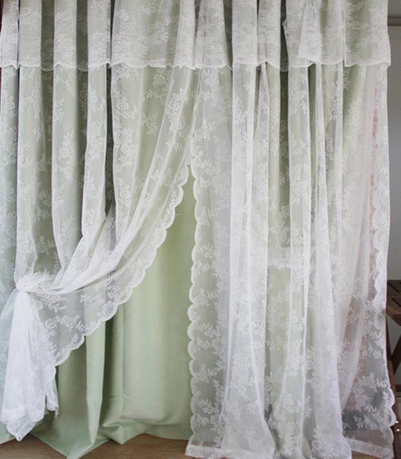 Shabby Chic Fairy Tale Double Layer With Valance Little Rose Sheer