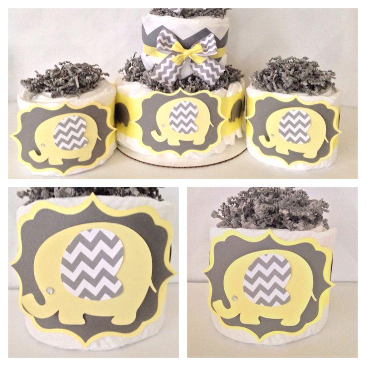 Mini Elephant Diaper Cake, Yellow And Gray Baby Shower Centerpiece, Elephant  Theme Baby Shower