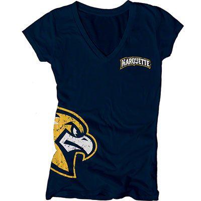 Marquette Golden Eagles Women's Navy Cossett Mascot Deep V-Neck T-Shirt