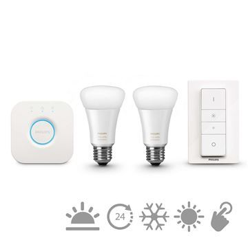 Kit Philips Hue white ambiance, 9.5W, A60, E27 www.etbm.ro/philips-hue-connected-lighting