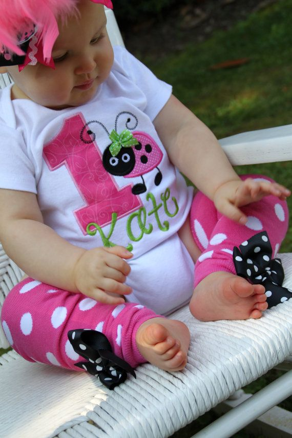 First Birthday Outfit  -- Little Lady - Hot Pink, lime green and black ladybug set - leg warmers and personalized bodysuit on Etsy, $41.95
