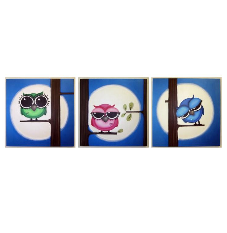 AwAkE sLeePy ZZZzzz OwLs - set of 3 20x20 acrylic painting on canvas for childs room or nursery, owl art, bird art. $275.00, via Etsy.