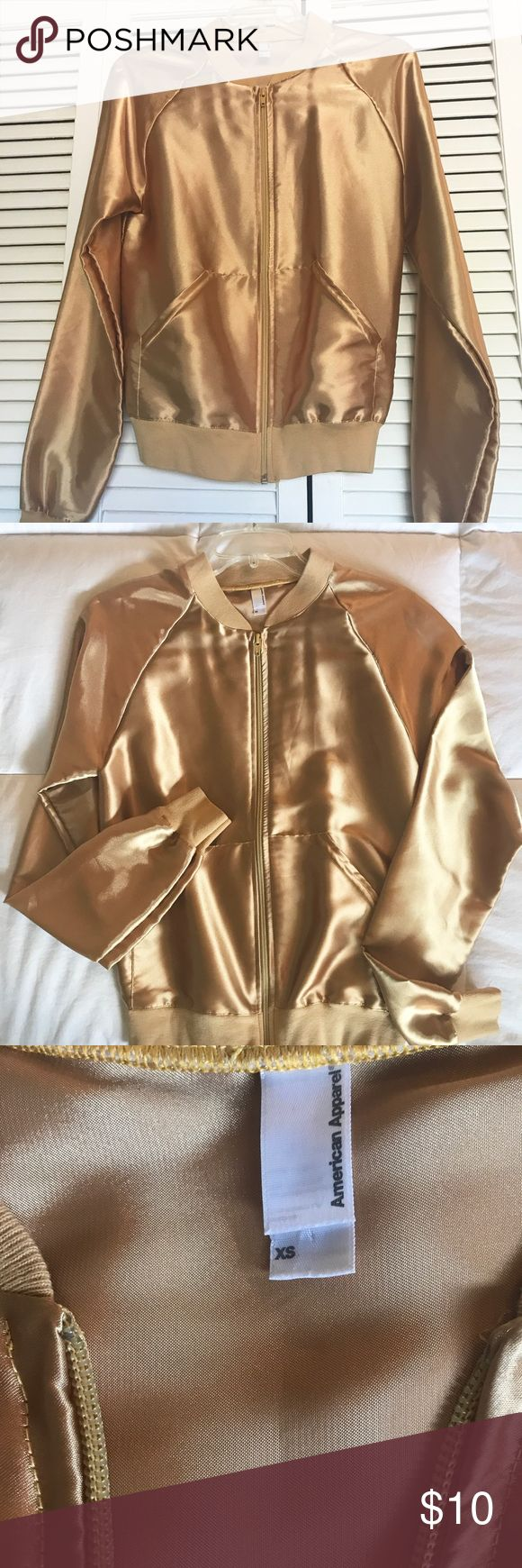 American Apparel Gold Jacket Satin-like gold jacket, size XS.  Great condition, worn once to a disco party and it was a hit! American Apparel Jackets & Coats