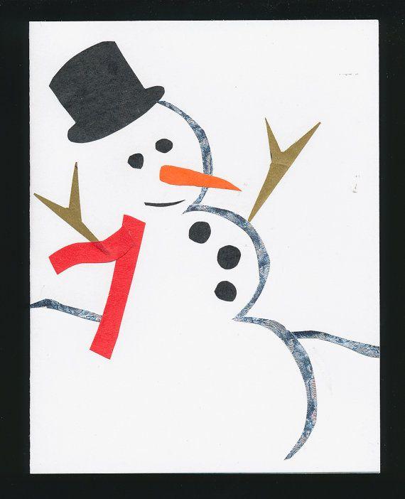 handmade Christmas card Snowman silver black by mudintheUSA, $6.00