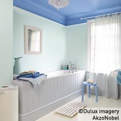 Dulux ceiling blue lagoon wood cladding illusion walls for Dulux bathroom ideas