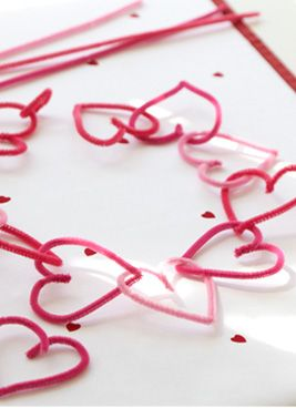 Valentines Chenille Stem (Pipe Cleaner) Wreath Valentines Crafts for Kids from Pottery Barn Kids (potterybarnkids.com); one of 3 crafts they have posted for kids for Valentine's Day