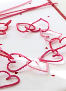 Chenille stem heart garland or wreath