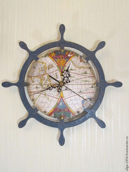 """Часы для дома ручной работы. Ярмарка Мастеров - ручная работа Часы """"Синий штурвал"""". Handmade."""