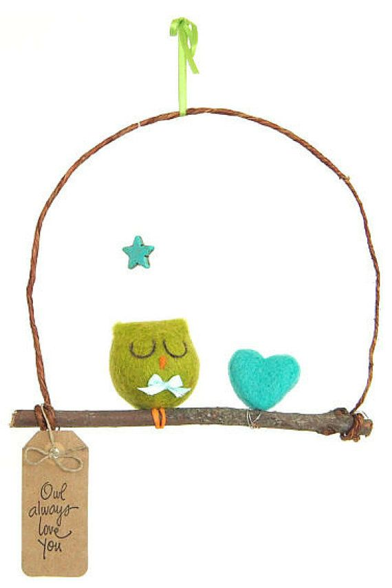 Owl Mobile for Baby's Nursery, Magical Woodland Needle Felted Mobile, Eco-Friendly and Non-Toxic