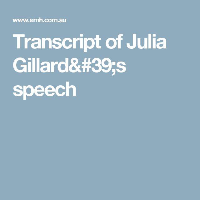 Transcript of Julia Gillard's speech