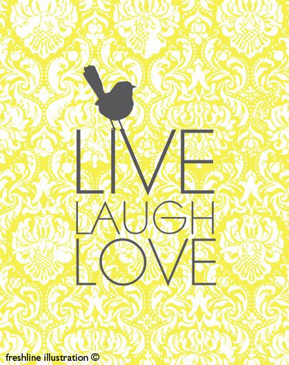 : Inspiration, Yellow Quotes, Living Laughing Love, Art Prints, Yellow Master Bedrooms, Damasks Art, Bedrooms Ideas, Gray Wall, Bathroom Grey And Yellow