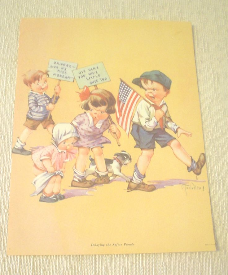 VTG Lithograph Print Delaying the Safety Parade Artist: Charles Twelvetrees Four Kids One Dog 48 Star Flag Little Girl Losing Diaper EC BIN by HerOptionsforYou on Etsy