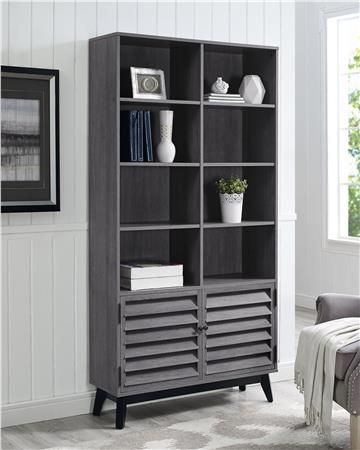 the 4 short angled legs and louvered bottom cabinet doors give this bookcase the of a midcentury modern piece and the